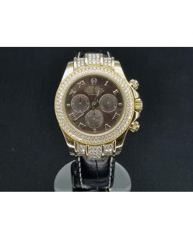 ROLEX DAYTONA 18K GOLD MOTHER OF PEARL DIAL. DIAMOND